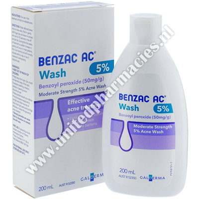 Benzac AC Wash (Benzoyl Peroxide) - 50mg/g (200mL Bottle)